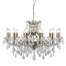 PARIS 12LT CHANDELIER CLEAR CRYSTAL DROPS & TRIM ANTIQUE BRASS