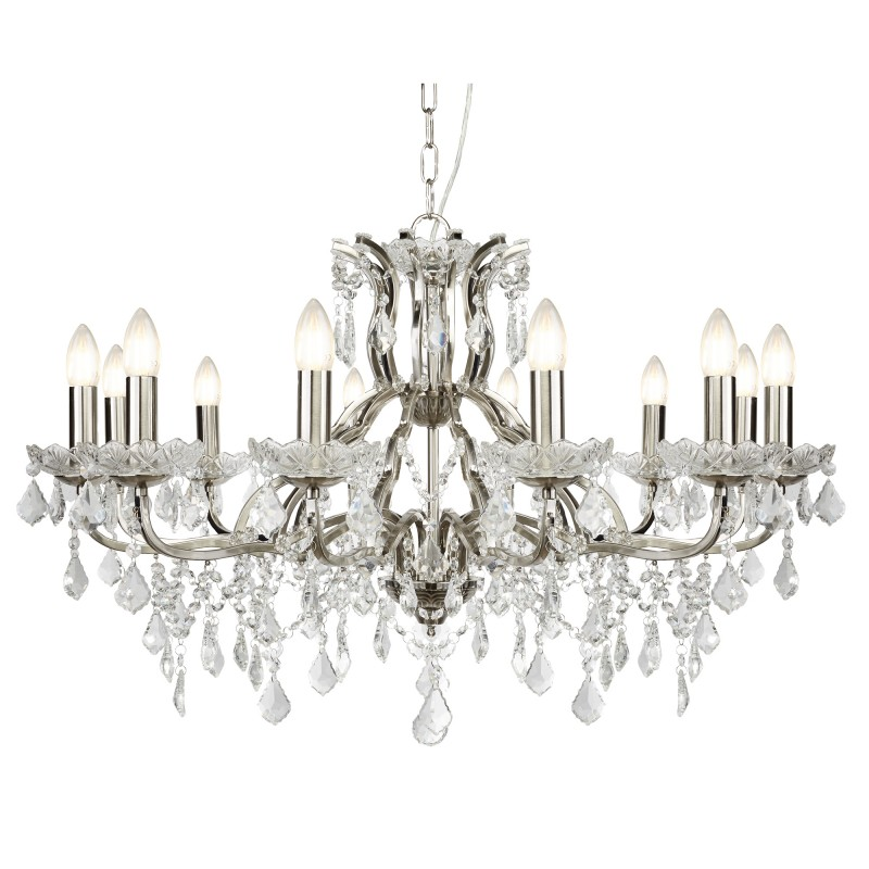 PARIS 12LT CHANDELIER CLEAR CRYSTAL DROPS & TRIM SATIN SILVER