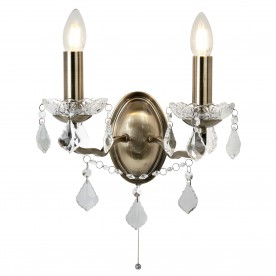 PARIS 2LT WALL BRACKET CLEAR CRYSTAL DROPS & TRIM ANTIQUE BRASS