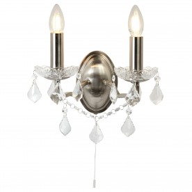 PARIS 2LT WALL BRACKET CLEAR CRYSTAL DROPS & TRIM SATIN SILVER
