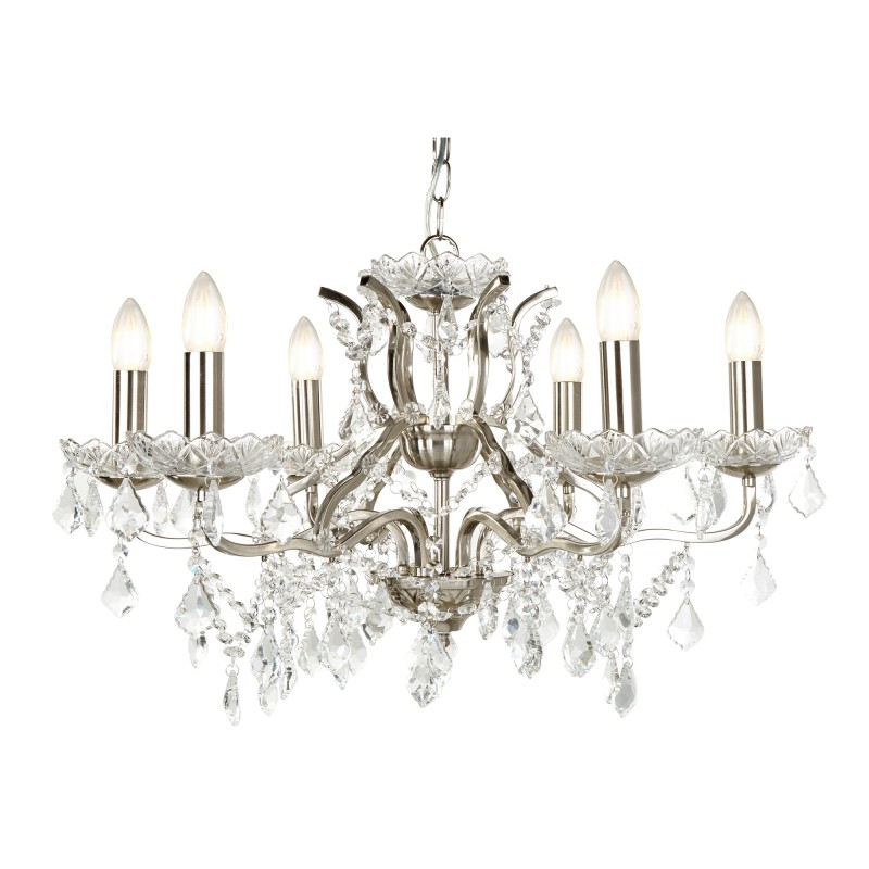 PARIS 6LT CHANDELIER CLEAR CRYSTAL DROPS & TRIM SATIN SILVER