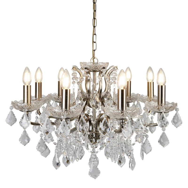 PARIS 8LT CHANDELIER CLEAR CRYSTAL DROPS & TRIM ANTIQUE BRASS