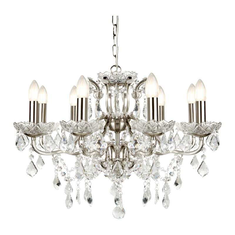 PARIS 8LT CHANDELIER CLEAR CRYSTAL DROPS & TRIM SATIN SILVER