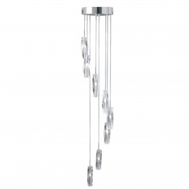 SCULPTURED ICE - 8LT CEILING MULTI-DROP CHROME CLEAR K9 GLASS