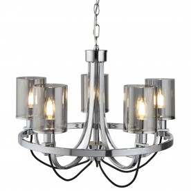 CATALINA 5LT CEILING CHROME BLACK BRAIDED CABLE SMOKED GLASS SHADES