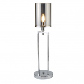 CATALINA 1LT TABLE LAMP CHROME SMOKED GLASS SHADES