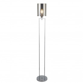 CATALINA 1LT FLOOR LAMP CHROME SMOKED GLASS SHADES