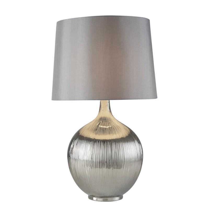GLENMONT TABLE LAMP - CHROME RIDGED BASE SILVER SHADE