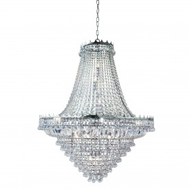 VERSAILLES -  19LT (DIA 1022cm) CLEAR CRYSTAL CHANDELIER CHROME FRAME