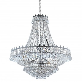 VERSAILLES -  13LT (DIA 82cm) CLEAR CRYSTAL CHANDELIER CHROME FRAME