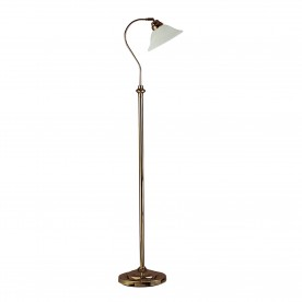 ADJUSTABLE FLOOR LAMP - ANT/BRASS CW SCAVO GLASS