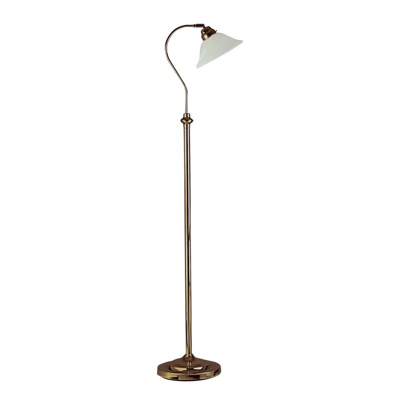 ADJUSTABLE FLOOR LAMP - ANT/BRASS CW SCAVO GLASS