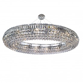 VESUVIUS OVAL 24LT CEILING CHROME WITH CLEAR K9 COFFINS TRIM & K5 BALL DROPS