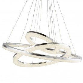CIRCLE LED 3 RING CEILING PENDANT CHROME CRUSHED ICE