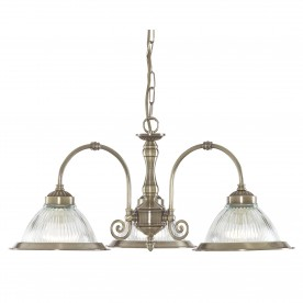 DELTA - 3LT CEILING ANTIQUE BRASS CLEAR GLASS