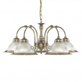 DELTA - 5LT CEILING ANTIQUE BRASS CLEAR GLASS