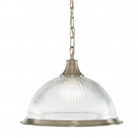 AMERICAN DINER - 1LT PENDANT ANTIQUE BRASS CLEAR GLASS