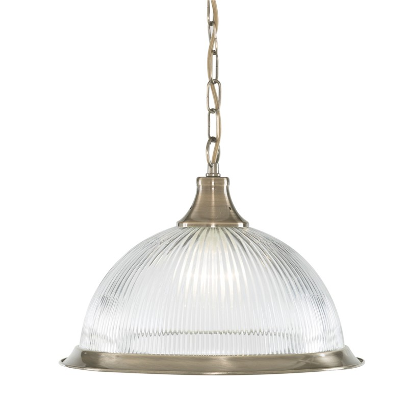 DELTA - 1LT PENDANT ANTIQUE BRASS CLEAR GLASS