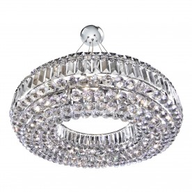 VESUVIUS -  CIRCULAR 10LT CEILING CHROME WITH CLEAR CRYSTAL COFFINS TRIM & BALL DROPS