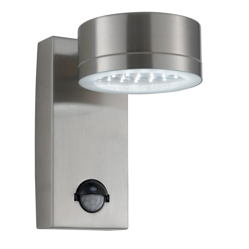 OUTDOOR LED WALL LIGHT STAINLESS STEEL CW SENSOR