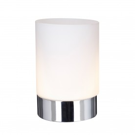 TOUCH TABLE LAMP METAL  1LT CHROME - OPAL WHITE GLASS SHADE
