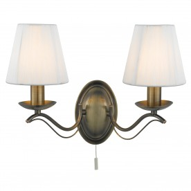 ANDRETTI - 2LT WALL BRACKET ANTIQUE BRASS CREAM STRING SHADES