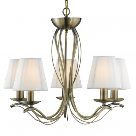 ANDRETTI - 5LT CEILING ANTIQUE BRASS CREAM STRING SHADES