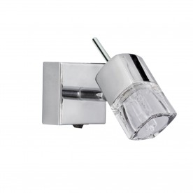 BLOCS - 1LT SPOTLIGHT W/BRACKET CHROME CLEAR GLASS (ICE CUBE)