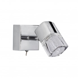 LED BLOCS - 1LT SPOTLIGHT W/BRACKET CHROME CLEAR GLASS (ICE CUBE)