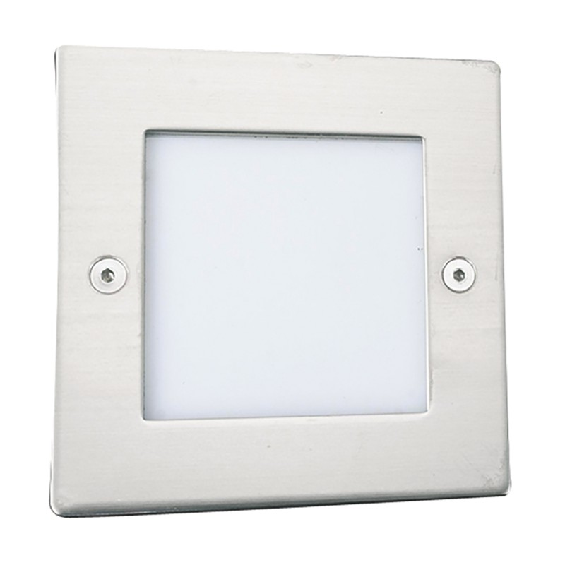 ANKLE LED RECESSED INDOOR & OUTDOOR LIGHT SQUARE CHROME - WHITE LED