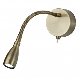 WALL LED READING LIGHT - FLEXI WALL LAMP - ANTIQUE BRASS