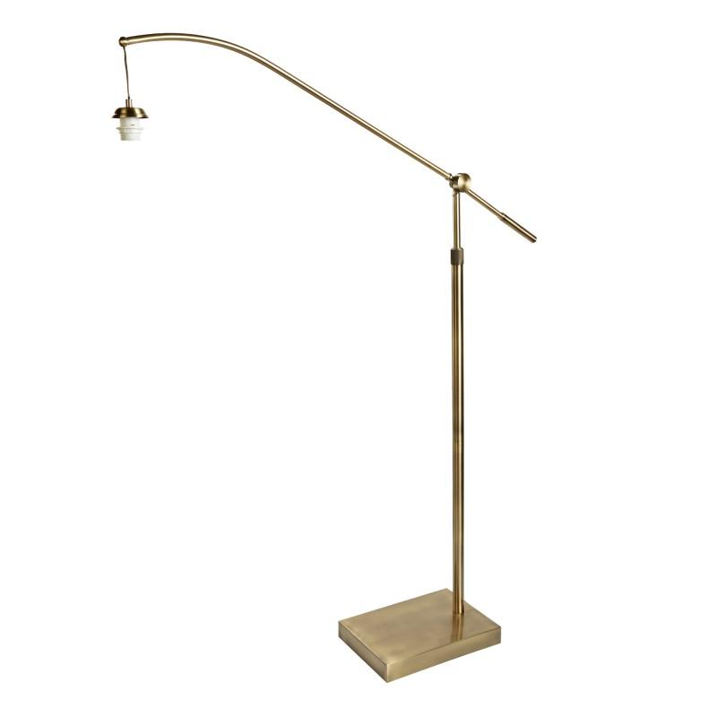 SWING ARM XL - FRAME ONLY - ARC ARM FLOOR LAMP ANTIQUE BRASS