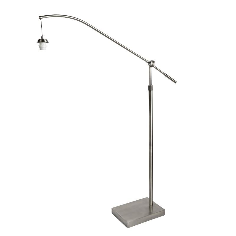 SWING ARM XL - FRAME ONLY - ARC ARM FLOOR LAMP SATIN SILVER