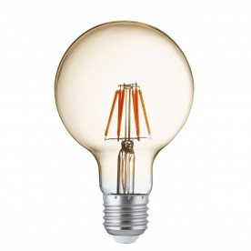 LED LAMPS PACK x 5 - AMBER GLASS FILAMENT GLOBE BULB E27 6W 600LM 95mm Dia 3000K