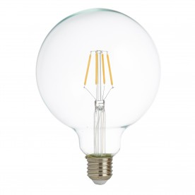 LED LAMPS PACK x 5 - LED FILAMENT GLOBE LAMP (125mm) CLEAR GLASS E27 6W 600LM