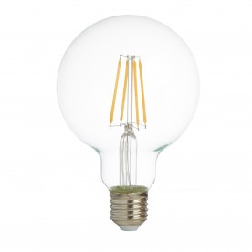 LED LAMPS PACK x 5 - DIMMABLE LED FILAMENT GLOBE  (95mm) CLEAR GLASS E27 6W 600LM 2700K