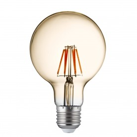 LED LAMPS PACK x 5 - DIMMABLE LED FILAMENT GLOBE (95mm) AMBER GLASS E27 6W 600LM 2700K