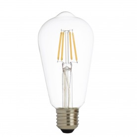LED LAMPS PACK x 5 - LED FILAMENT SQUIRREL LAMP CLEAR GLASS E27 6W 600LM 3000K