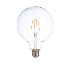 LED LAMPS PACK x 5 - DIMMABLE LED FILAMENT GLOBE (125mm) CLEAR GLASS E27 6W 600LM 2700K