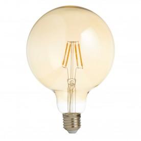 LED LAMPS PACK x 5 - LED FILAMENT GLOBE LAMP (125mm) AMBER GLASS E27 6W 600LM