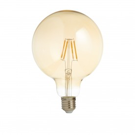 LED LAMPS PACK x 5 - DIMMABLE LED FILAMENT GLOBE LAMP (125mm) AMBER GLASS E27 6W 600LM