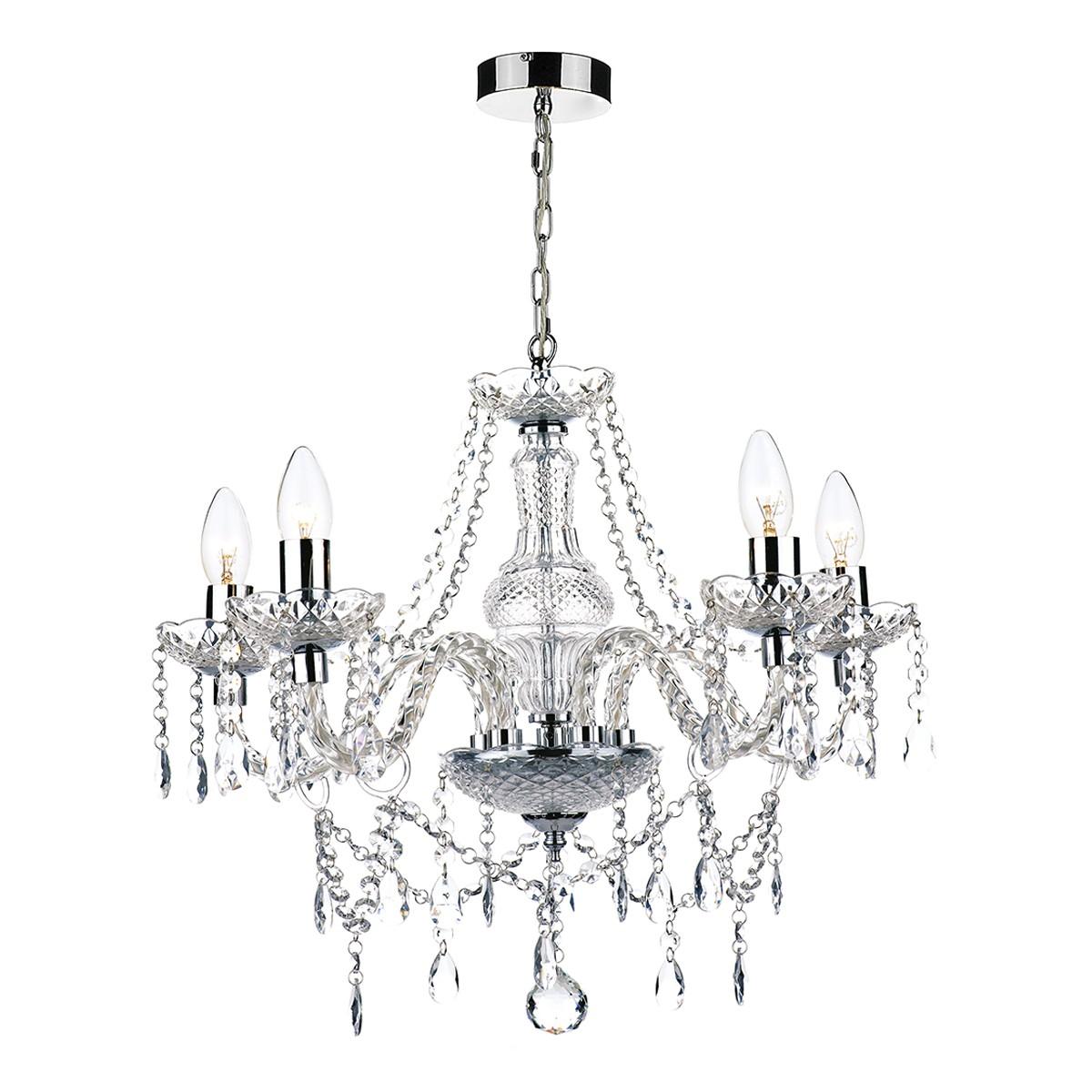 Katie 5 light chandelier polished chrome acrylic glass mozeypictures Choice Image